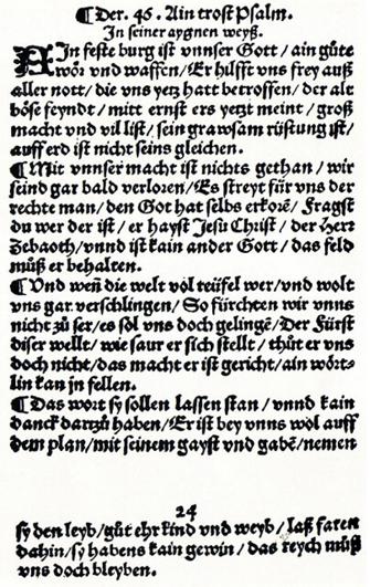 <p>La copia más antigua impresa del himno compuesto por Martín Lutero. (Museo de Wittenberg)</p>,