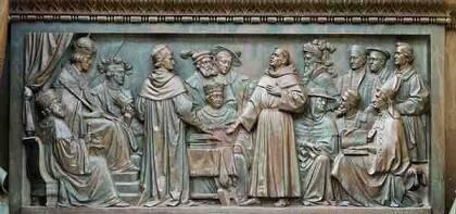Lutero en Worms, frente a Carlos V.