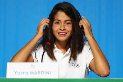 Yusra en rueda de prensa