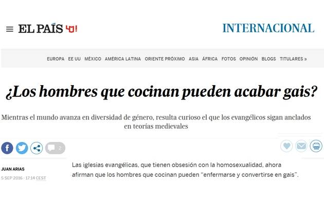 Captura de pantalla del artículo de Juan Arias en El País,hoax, El País