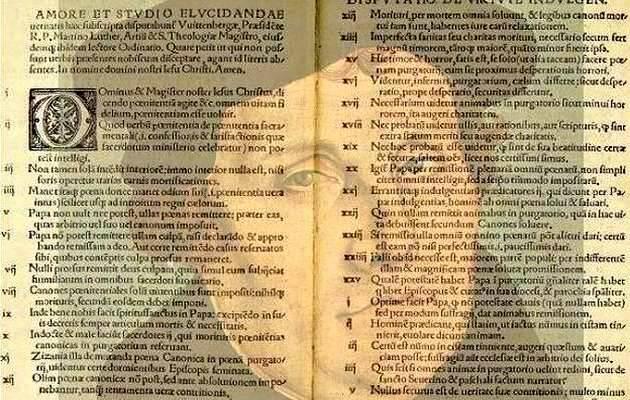 Uno de los textos originales, con la imagen de Lutero,Martín Lutero, 95 tesis