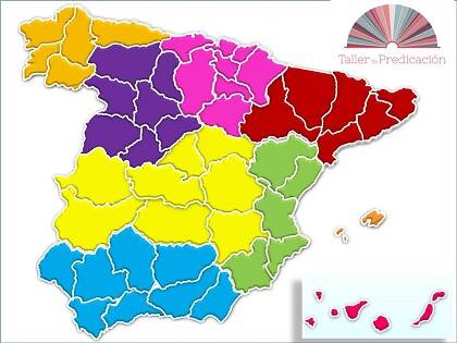 Las 9 regiones de Taller de Predicación.