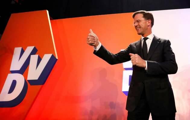 Rutte comparece tras conocer los resultados de los sondeos / REUTERS,Mark Rutte, elecciones Holanda