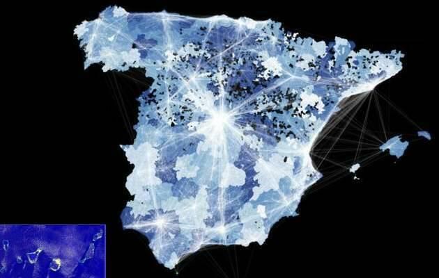 mapa lumínico de España,mapa lumínico, España noche