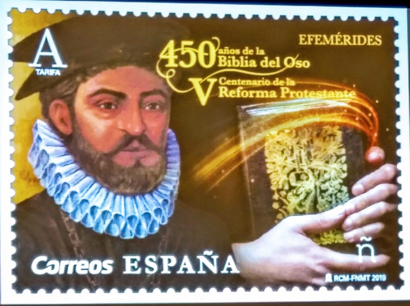 En el sello figura Casiodoro de Reina y la Biblia del Oso. / Abraham Solla