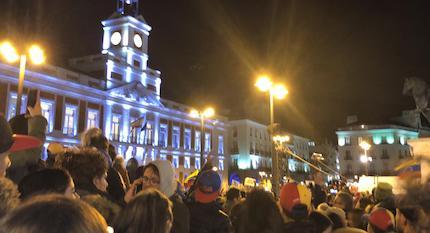 El pasado miércoles cientos de venezolanos se encontraron en la Puerta del Sol en Madrid. / E.García