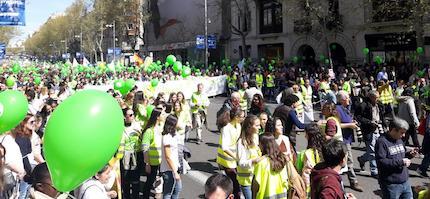 Una marea verde en las calles de Madrid, este domingo.