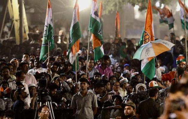 Partidarios del Congreso Nacional Indio, durante un mitin. / Twitter @INCIndia,