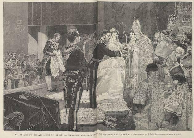 Boda de Alfonso XII y María de las Mercedes de Orleans, el 23 de enero de 1878, en la basílica de Atocha, dibujo de Vierge para Le Monde Illustré. / Wikipedia, dominio público,
