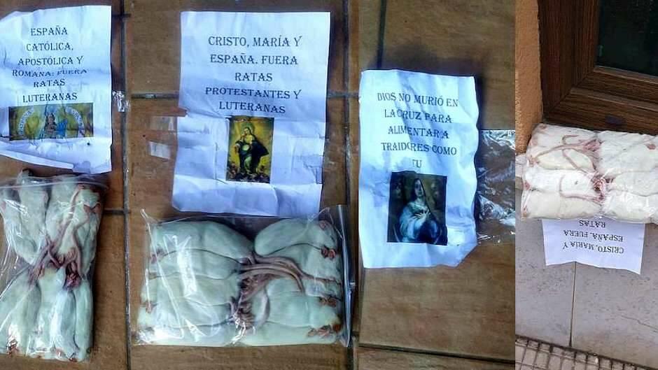 Ratas y carteles insultantes en la fachada de una iglesia evangélica en Santander, a finales de 2020./Archivo,