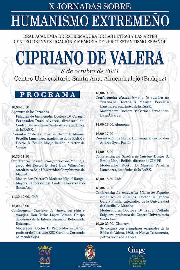 Cipriano de Valera, protagonista de las X Jornadas de Humanismo Extremeño