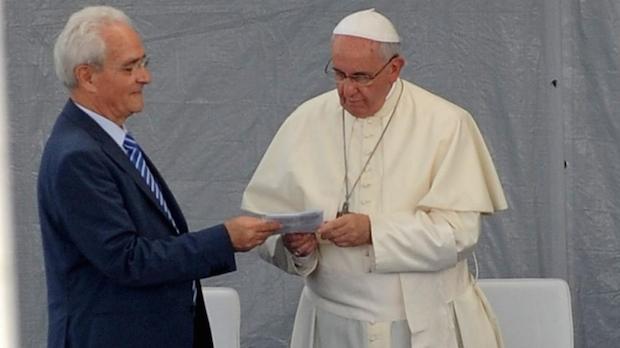<p> El Papa Francisco y Giovanni Traettino, durante el encuentro mantenido este 28 de julio.</p> ,